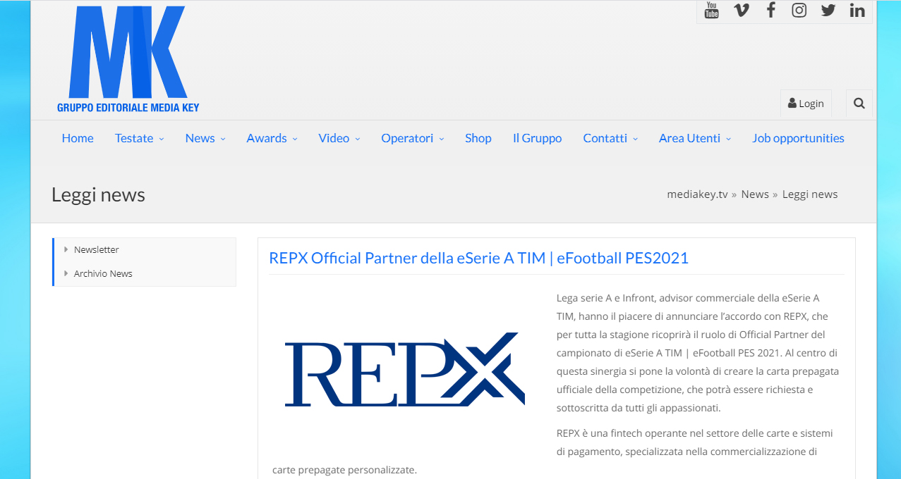 MEDIAKEY.IT – REPX Official Partner della eSerie A TIM | eFootball PES2021
