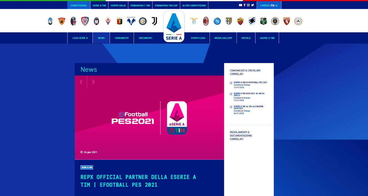 LEGA SERIE A TIM – REPX OFFICIAL PARTNER DELLA ESERIE A TIM | EFOOTBALL PES 2021