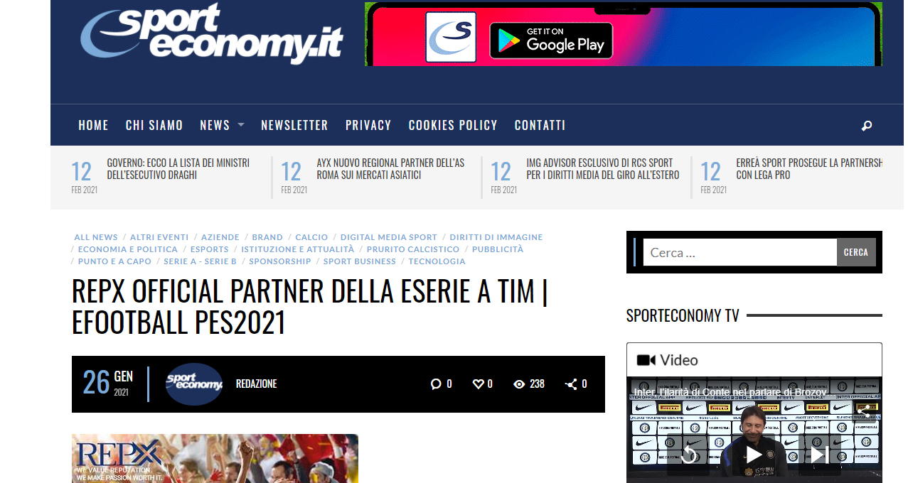 SPORTECONOMY – REPX OFFICIAL PARTNER DELLA ESERIE A TIM | EFOOTBALL PES2021