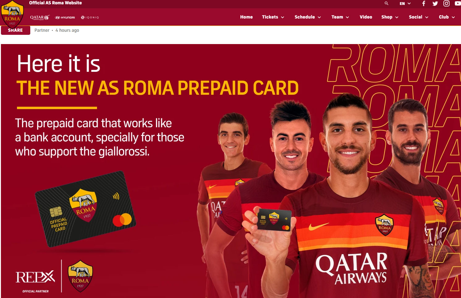 ASROMA.COM – AS ROMA AND REPX JOIN FORCES TO LAUNCH PREPAID CARD